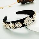 autumn and winter black gold velvet cloth baroque retro small flower full diamond headband NHLN266888