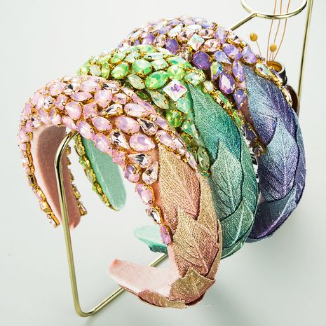 autumn and winter Christmas creative flannel leaf inlaid glass rhinestone headband NHLN266889's discount tags