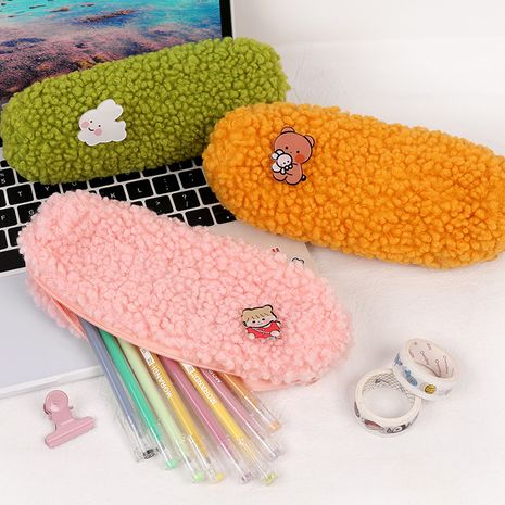 Korean simple brooch plush pencil case large capacity canvas zipper stationery bag NHHE266901's discount tags