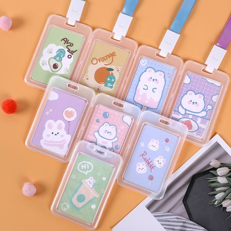 bus card protective sleeve student transparent plastic long rope 11cmx7cm card sleeve NHHE266903's discount tags