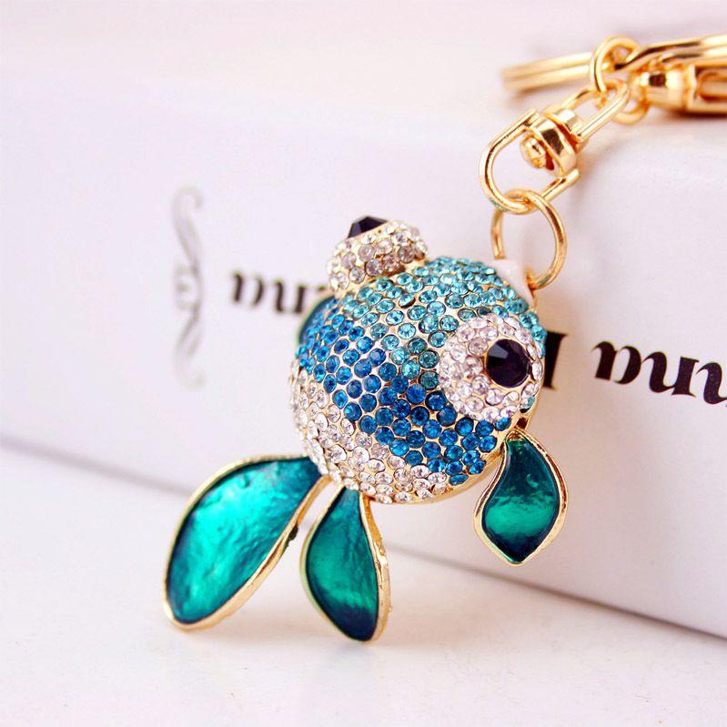 Korean  creative diamond sea animal goldfish crystal keychain  NHAK266936