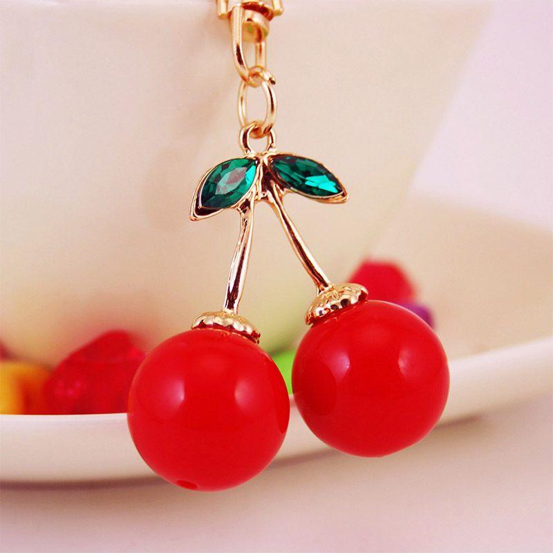 Korean crystal cute red cherry car keychain  NHAK266938