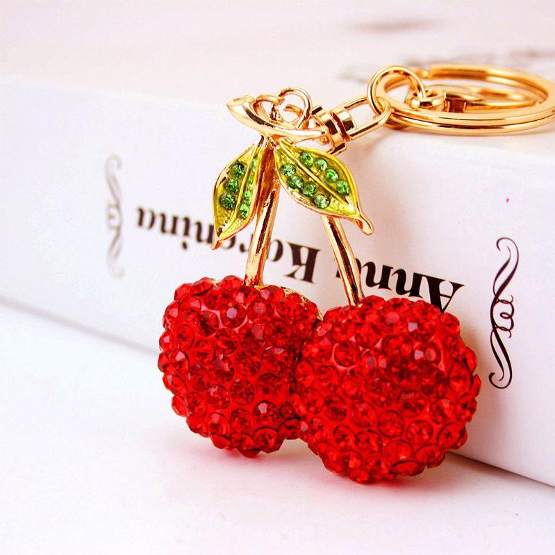 cute cherry rhinestone car keychain  NHAK266942