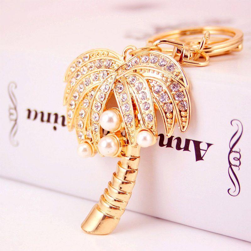 Creative diamond-studded coconut tree keychain NHAK266947