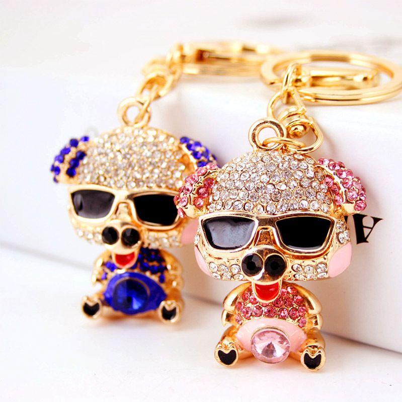 Korean  creative cute diamond alloy piggy keychain NHAK266948