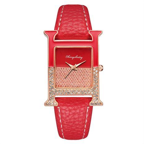 Reloj de pulsera de cuarzo para mujer con cinturón de diamantes de imitación de moda con empalme rectangular informal NHSY266967's discount tags