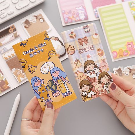 Multifunctional Folding Post-it Notes Cute Memo Pad Small Fresh Student Message Memo N Times Posting Handbook Material Paper NHZE267028's discount tags