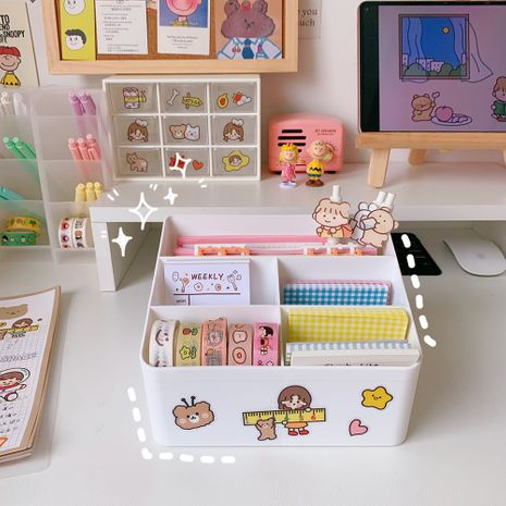 simple stylish desktop storage box student dormitory multi-function desk stationery clutter sorting artifact NHZE267041's discount tags