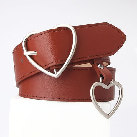 new love pin buckle belt simple fashion all-match heart-shaped hanging decorative women's belt wholesale NHJN267043's discount tags