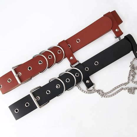 fashion punk style ladies trendy chain decoration eyelet tooling jeans belt NHJN267046's discount tags