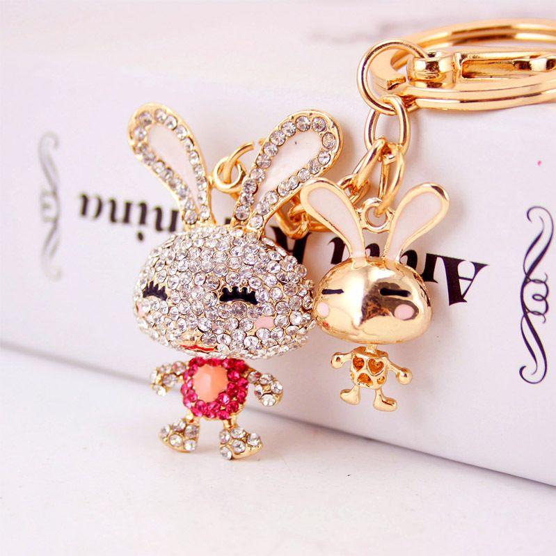 Korean creative cute diamond cartoon bunny car keychain NHAK267055