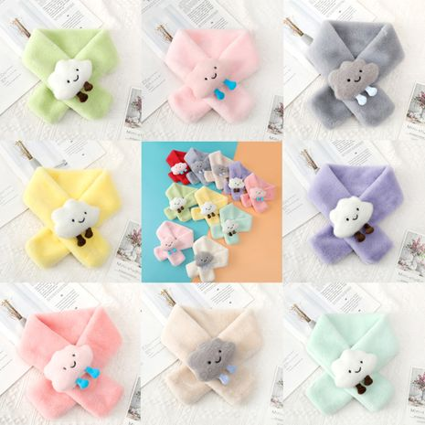 Korean cute white cloud doll cross girls warm outdoor antifreeze candy color scarf  NHTQ267144's discount tags
