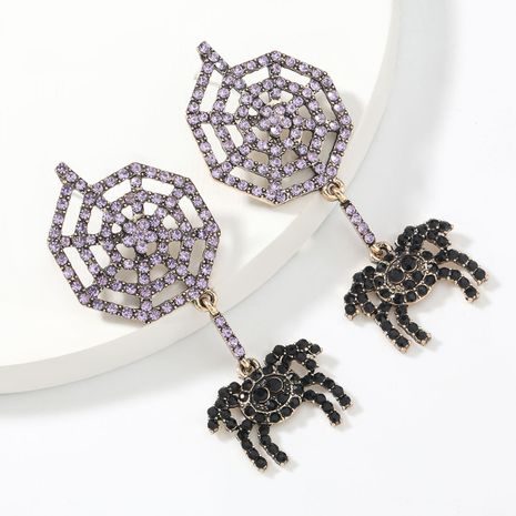 Fashion big brand alloy acrylic diamond spider web black spider women's earrings NHJE267233's discount tags