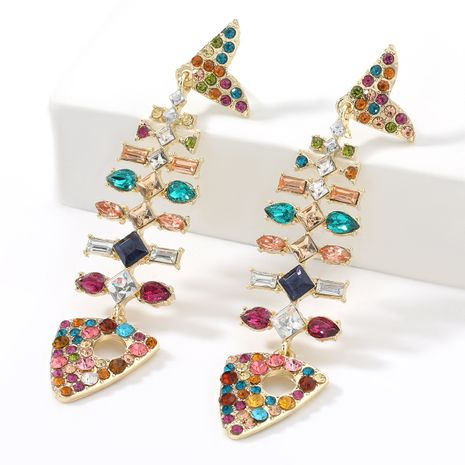 alloy diamond-studded acrylic super flashing color diamond fish bone earrings  NHJE267239's discount tags