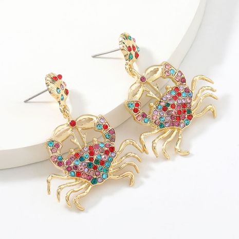 Fashion colored diamond series alloy diamond-studded rhinestone crab women's earrings NHJE267241's discount tags