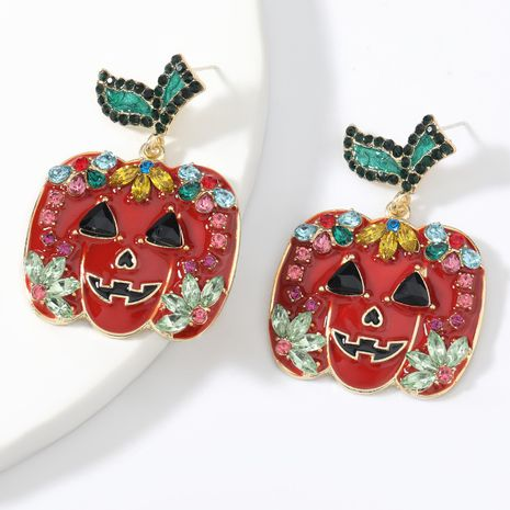Fashionable big brand alloy dripping oil diamond Halloween pumpkin retro women's earrings NHJE267242's discount tags