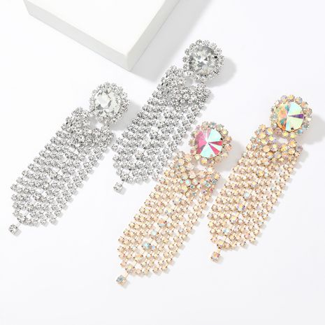 Super flashing claw chain series alloy diamond round glass diamond long tassel exaggerated earrings NHJE267243's discount tags