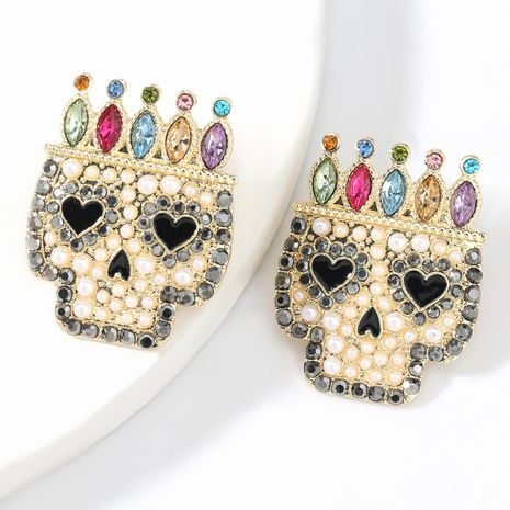 Fashion big-name trend alloy diamond-studded acrylic skull Halloween women's earrings NHJE267244's discount tags