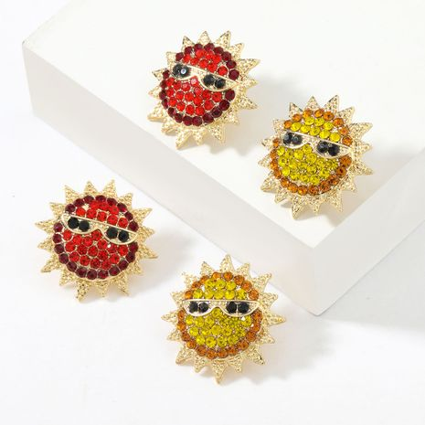 Fashion  acrylic diamond-studded sun  earrings NHJE267245's discount tags