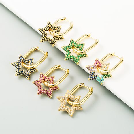 fashion six-pointed star flower-shaped copper-plated real gold micro-inlaid color zircon copper earrings NHLN267246's discount tags