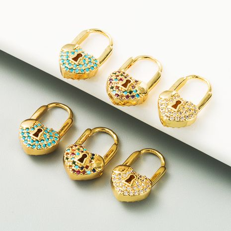 hot-selling fashion heart-shaped lock brass plated real gold micro-inlaid zircon color preserving earrings for women NHLN267249's discount tags
