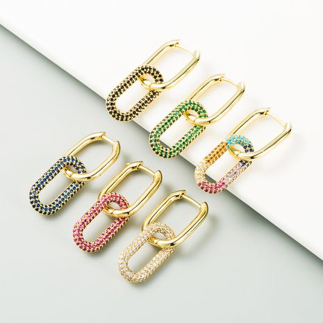 new fashion double ring buckle pure copper gold-plated micro-inlaid color zircon hip-hop style earrings NHLN267252's discount tags