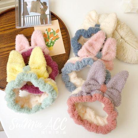 Korean cute bow coral velvet elasticated elastic wide-brimmed headband hair accessories for women NHSM267256's discount tags