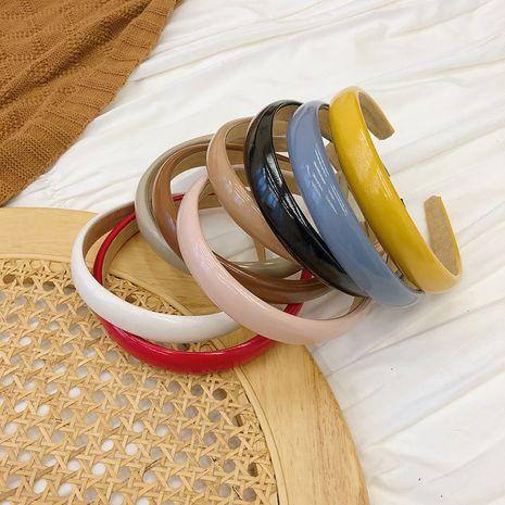 Korean candy color retro glossy PU leather sponge thin-edge simple headband  NHSM267258's discount tags