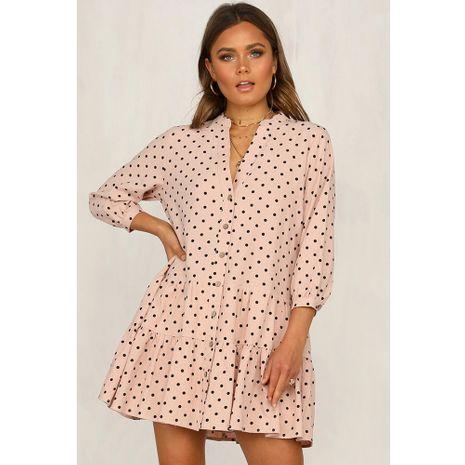 Herbst neue Mode Polka Dot Rüschen Kleid mit V-Ausschnitt für Frauen NHJG267286's discount tags