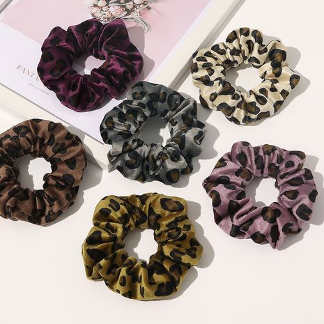 new Arctic velvet leopard print hair scrunchies retro fabric hair accessories NHQC278125's discount tags
