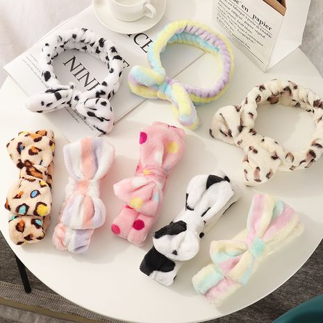 fashion new plush bow wash face  headband  NHAU280593's discount tags