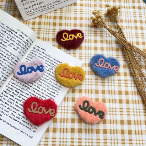 Korean plush LOVE letter cute hairpin  NHCU280664's discount tags