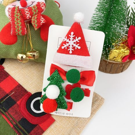Christmas Children's Hat Elk Bow Hairpin 4 Piece Set NHCU280666's discount tags