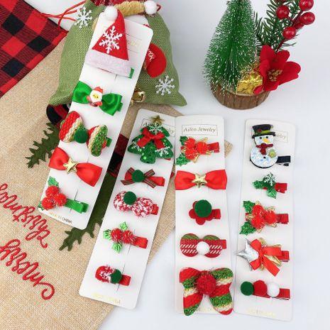 Cute Christmas Snowman Bow Tree Hairpin 5 Piece Set  NHCU280679's discount tags