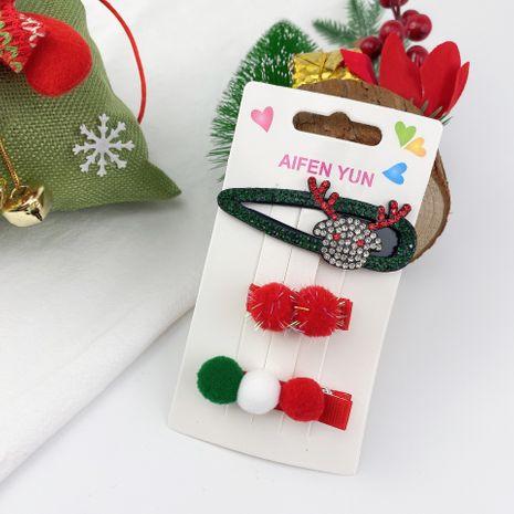 adorable ensemble de 3 épingles à cheveux en peluche de Noël avec flocon de neige élan du père Noël NHCU280685's discount tags