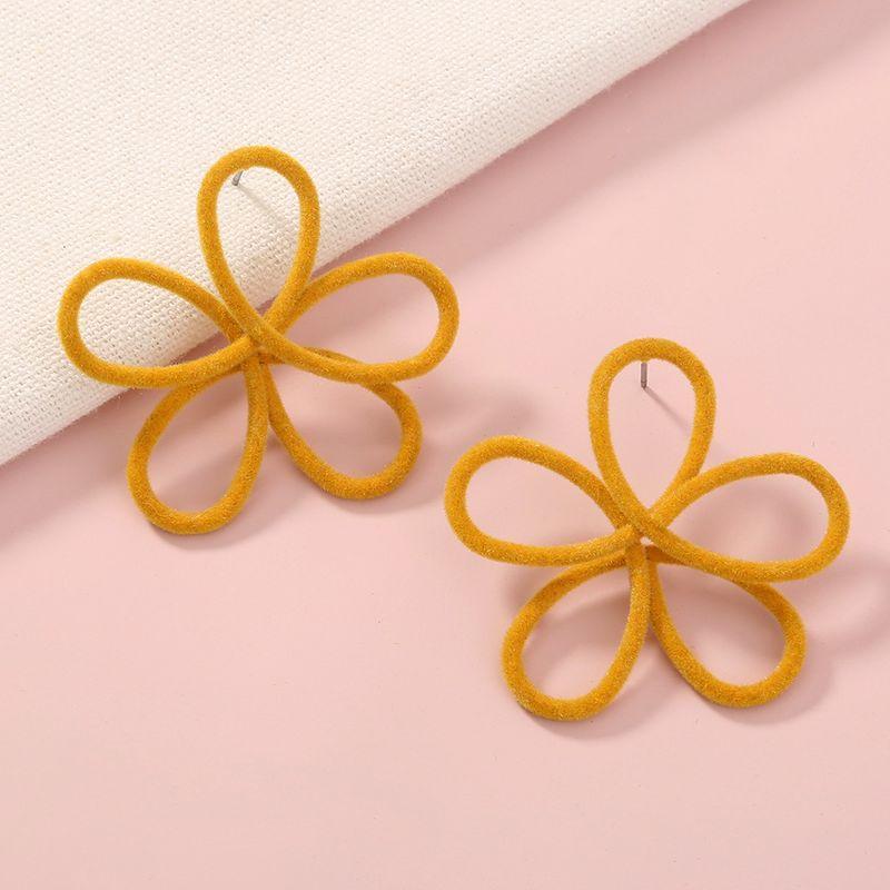 plush simple flower cute earrings NHAN280866