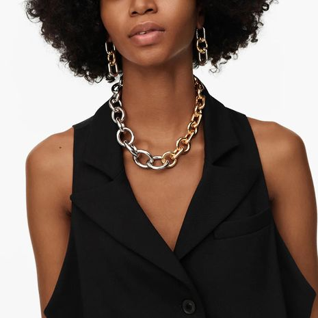 exaggerated gold and silver two-color  punk chain necklace  NHLA280872's discount tags