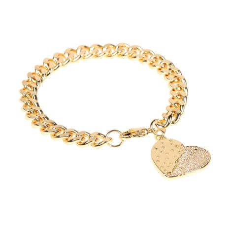 New  Copper Plated Real Gold Diamond Heart-shaped  Bracelet  NHPY280876's discount tags
