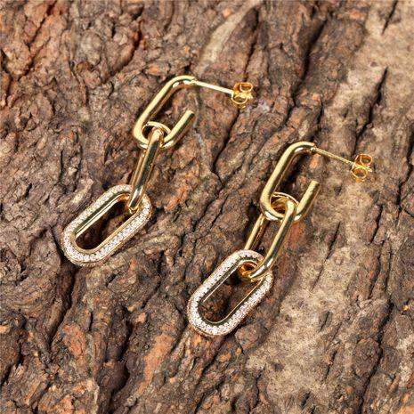 geometric chain micro-studded diamond long earrings NHPY280890's discount tags