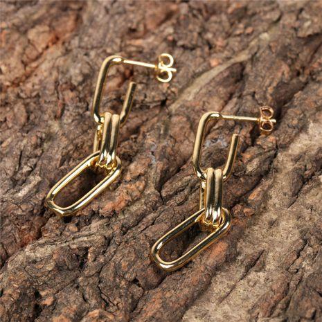 retro chain buckle long earrings NHPY280891's discount tags