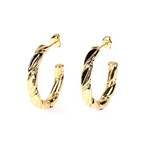 exaggerated irregular copper twist shape C-shaped earrings NHPY280897's discount tags