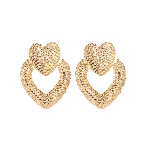 boucles d'oreilles coeur en métal givré rétro creux double coeur pêche NHMO280900's discount tags