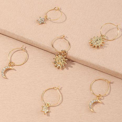 children's gold sun flower moon 8-piece earrings NHNU280914's discount tags