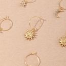 boucles d39oreilles dores enfant fleur de soleil lune 8 pices NHNU280914