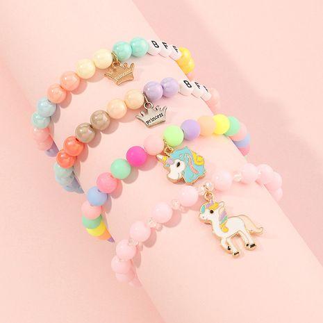 Bracelet couronne de licorne en perles de couleur acrylique NHNU280923's discount tags