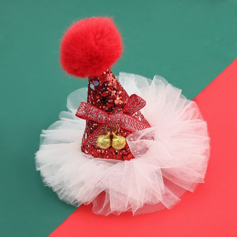 Christmas series white lace red hat hairpin NHJE280926's discount tags