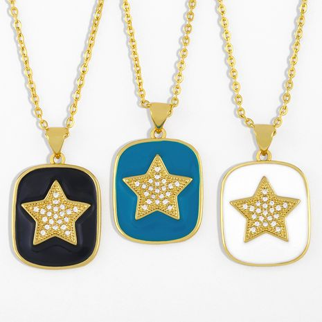 fashion drip oil five-pointed star necklace  NHAS280947's discount tags