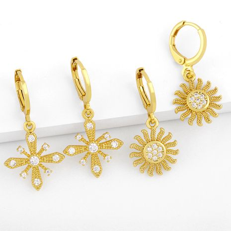 Creative  inlaid zircon sun flower earrings  NHAS280950's discount tags