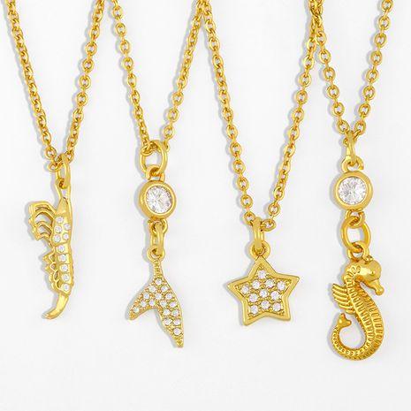 creative shrimp seahorse pendant necklace NHAS280957's discount tags