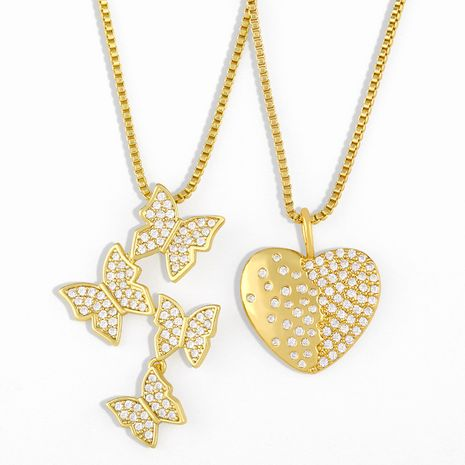 butterfly simple irregular inlaid zircon pendant necklace  NHAS280958's discount tags